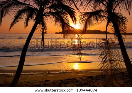 A sunset in Costa Rica - stock photo