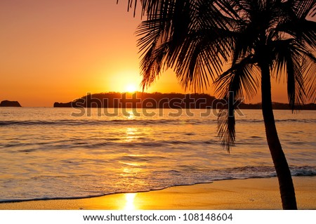 A sunset on a beach in Costa Rica