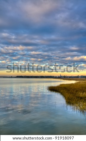A Sunset Over the Marsh in South Carolina - stock photo