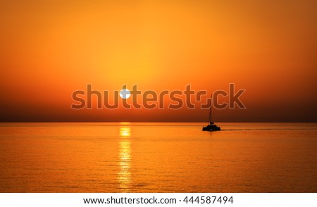 A sunset view from the Palm Jumeira island in Dubai