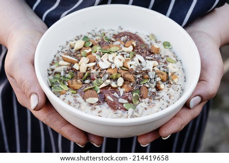 a super breakfast packed with nutrients - stock photo