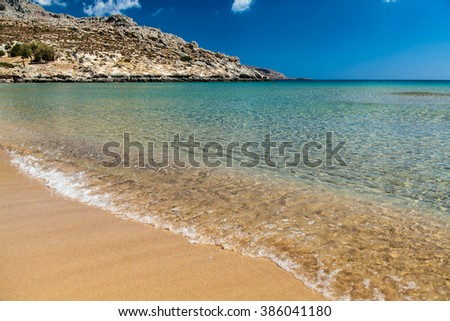 A superb beach on the island of Rhodes, Greece