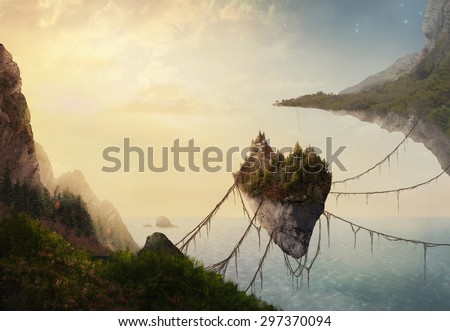 A surreal landscape at sunset with floating islands. - stock photo