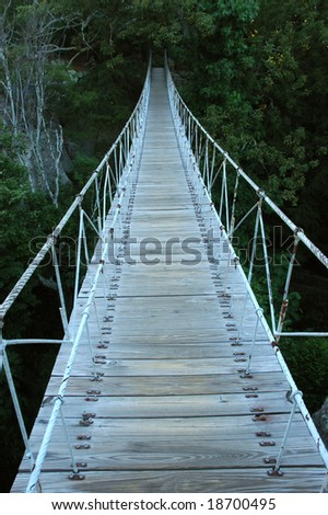 A suspension bridge leading to the dark dense jungle - stock photo