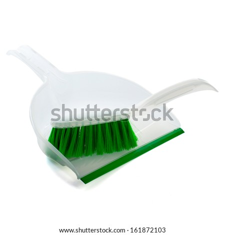 a sweeper and a look on a white background