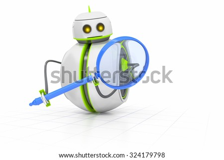A sweet little robot with a magnifying glass