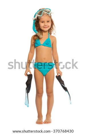 A swimmer with flippers, snorkel and diving mask - stock photo