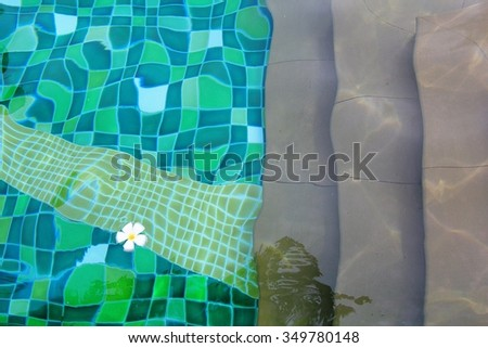 A swimming pool with green tiles and downstairs.