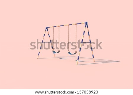 A swingset in sunlight on a pink background. - stock photo