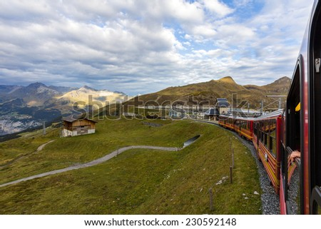 A Swiss train heading towards Jungfrau in Swiss Alps.