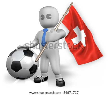 A Switzerland football fan with a ball and a flag - stock photo