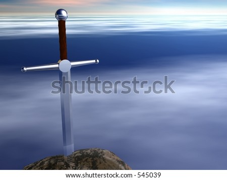 A sword in a stone against a misty blue sky background - stock photo