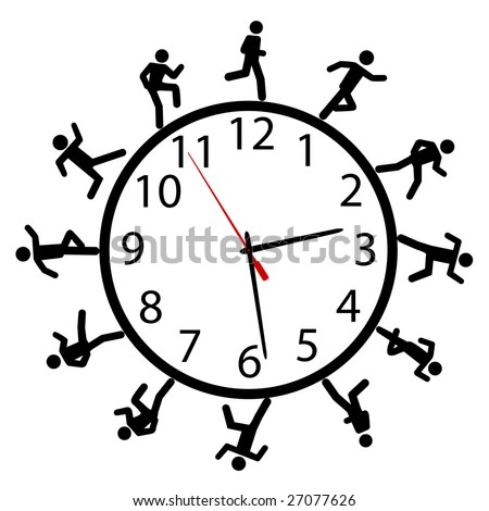 A symbol person or people in a hurry run a work day race around the clock or time clock.