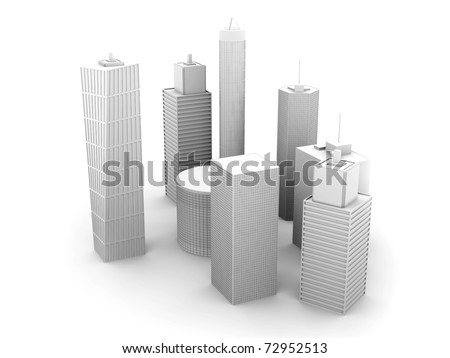 A symbolic city Illustration. 3D render. Skyscrapers isolated on white.
