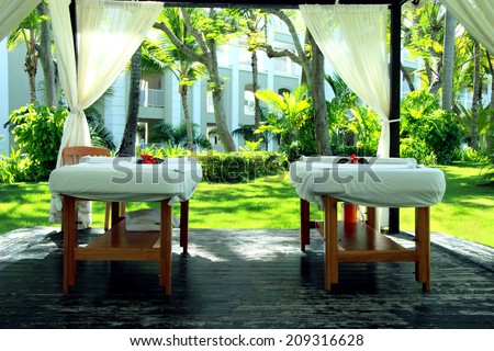 A table for massage and spa - stock photo