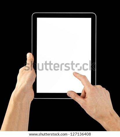 a tablet computer on the black background - stock photo