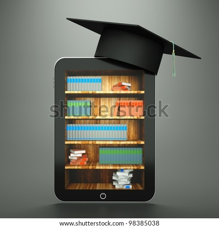 a tablet computer with graduation hat and bookcase on screen as a education concept - stock photo