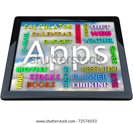 A tablet computer with many words symbolizing the different types of application software you can download on this new computing device