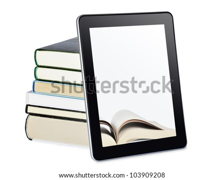 a tablet pc with books isolated on white. Education concept. - stock photo