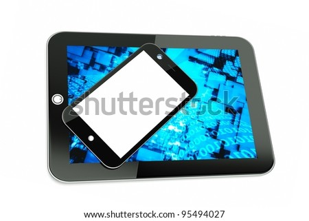 a tablet pc with modern cellphone isolated on white