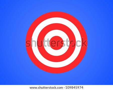 A target isolated against a blue background - stock photo
