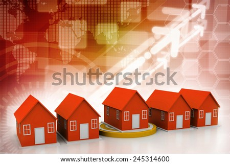 A target with a house  - stock photo