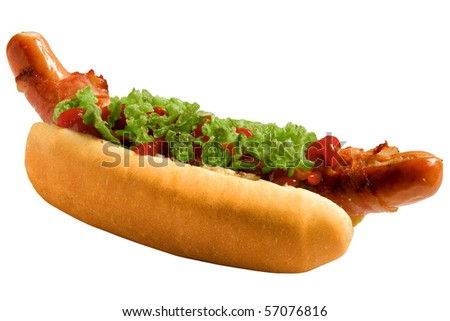 A tasty bacon hot-dog with ketchup and clipping path - stock photo