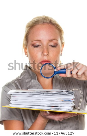 a tax auditor from the tax office at work. controller scanned documents