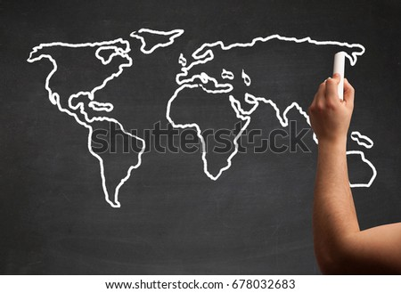 Teacher drawing map world on blackboard stock photo 678032683 a teacher drawing the map of the world on a blackboard with a chalk gumiabroncs Image collections
