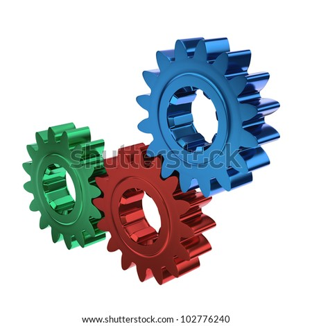 A team, B team and C team as cogs or gears working together on white background - stock photo