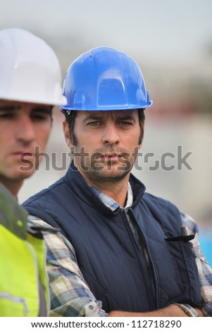 A team of builders - stock photo