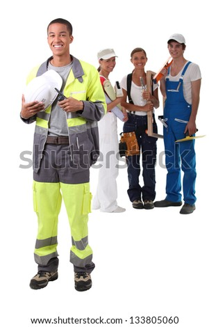 A team of construction worker. - stock photo