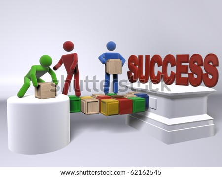 A team of diversity building a bridge to reach success - stock photo