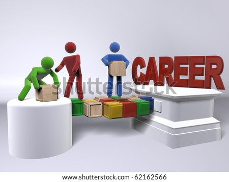 A team of diversity building a bridge to reach your ideal career - stock photo