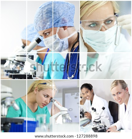 A team of female medical research scientists young women in a science laboratory, with microscopes and test tubes wearing surgical masks and a stethoscope - stock photo