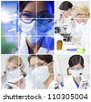 A team of female medical science researchers women in a laboratory, with microscopes - stock photo