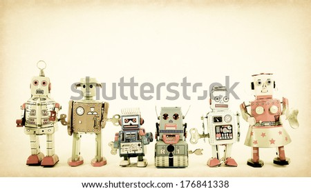 a team of robot toys - stock photo