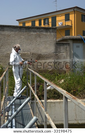 a technician from the company health disinfecting by,insect,rats,virus,etc.