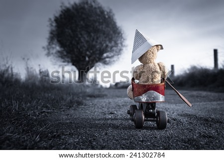 A teddy bear drives by a roller-skate vehicle on a small dark road at the countryside to the horizon light/Little Teddy Bear Adventure Trip - stock photo