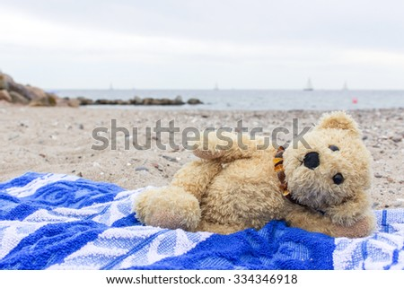 A teddy bear lies on a beach towel on the Baltic beach / teddy bear / at the beach