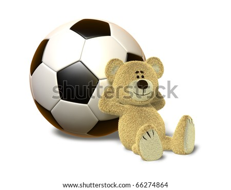 A teddy bear sits on the ground and leans his back against a huge soccer ball. He smiles and folds his arms behind his head. This images is isolated on a white background with soft shadow. - stock photo