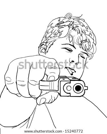Teen Gunman Pointing Gun Viewer Stock Illustration ...