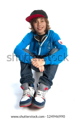 a teenage boy on a white background