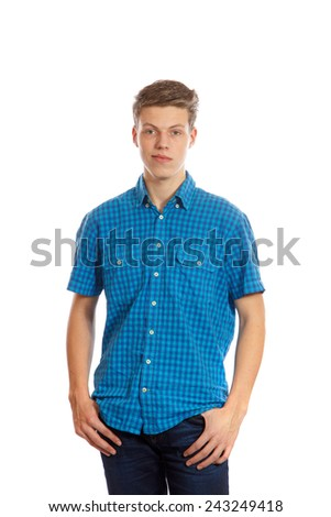 A teenage boy wearing a blue shirt and jeans