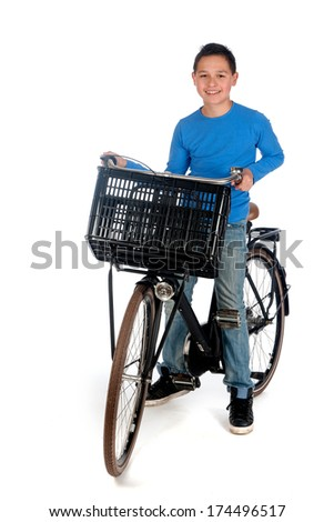 a teenage boy with a bike, on a white background