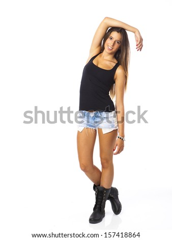 A teenage girl against a white background - stock photo