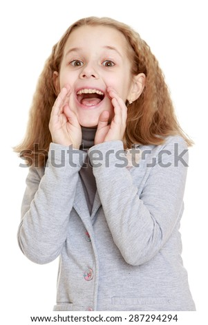 A teenage girl yells loudly putting her hands to face-Isolated on white background - stock photo