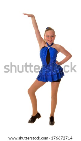 A Teenage Tap Dancer in Blue Dress Solo Performance Costume - stock photo