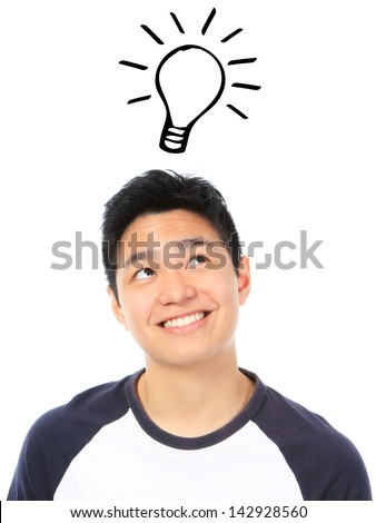 A teenager with a bright idea  - stock photo