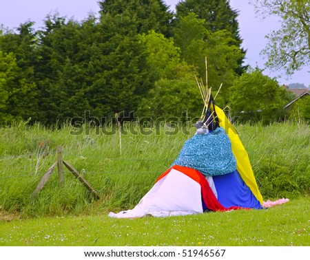 A teepee made by children to use as a den - stock photo